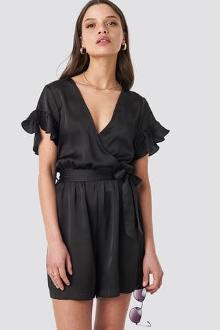 Black Frill Sleeve Playsuit