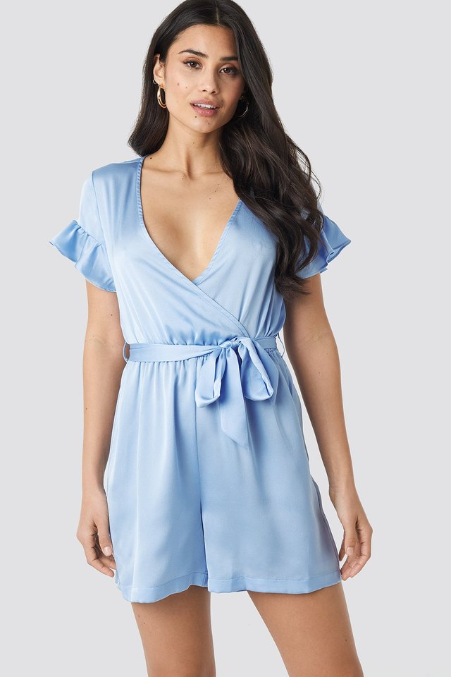 Frill Sleeve Playsuit Dusty Blue