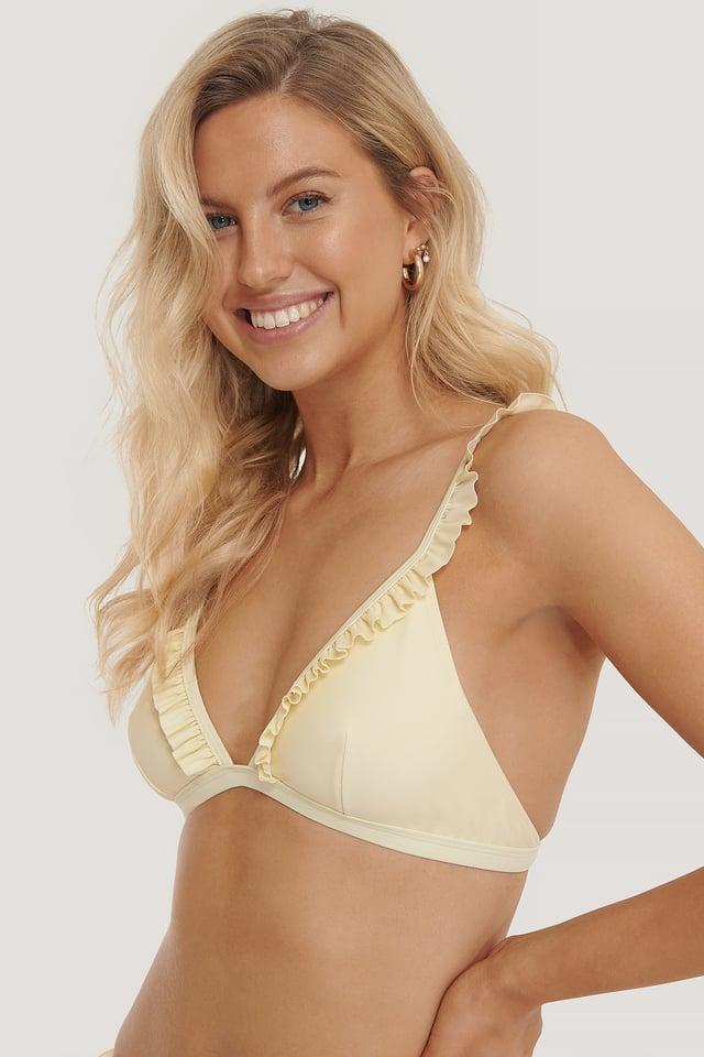 Yellow Frill Strap Bikini Top