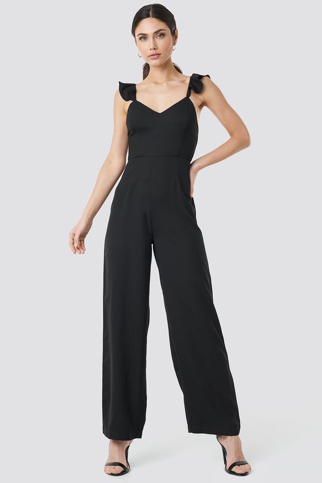 Frill Strap Jumpsuit Black