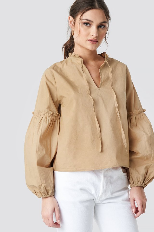 Frill V-Neck Puff Sleeve Blouse Beige