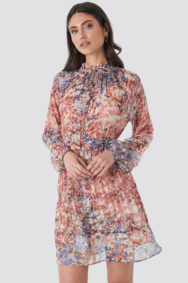 Frill V-Neck Chiffon Mini Dress Multi Print