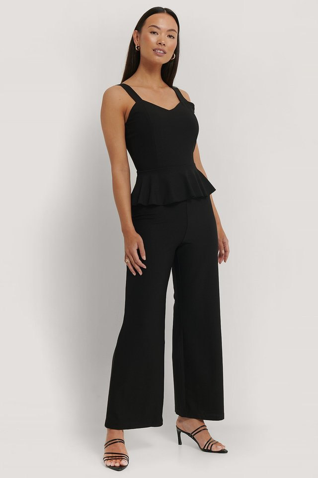 Black Frill Waist Jumpsuit