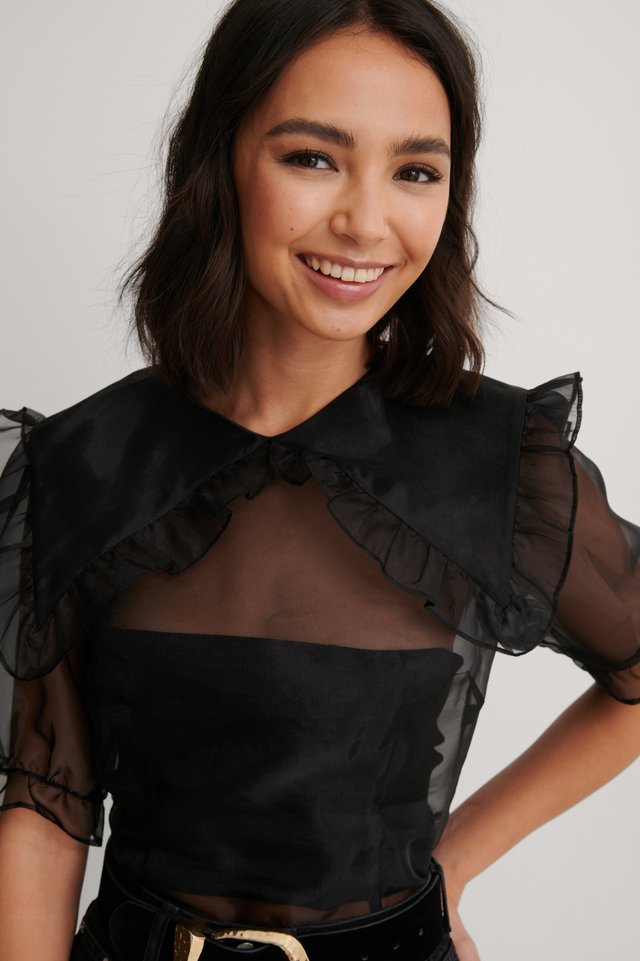 Black Frilled Detail Organza Top