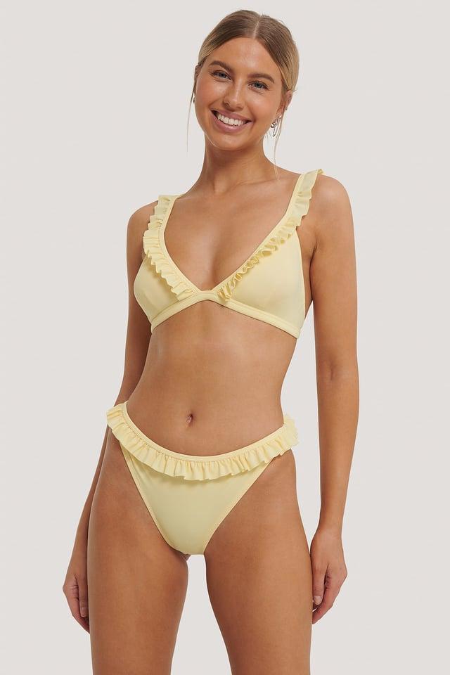 Yellow Frill Edge Bikini Bottom