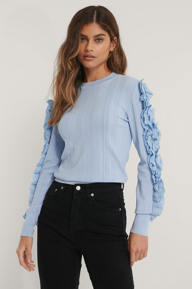 Light Blue Frilled Sleeve Detail Knitted Sweater