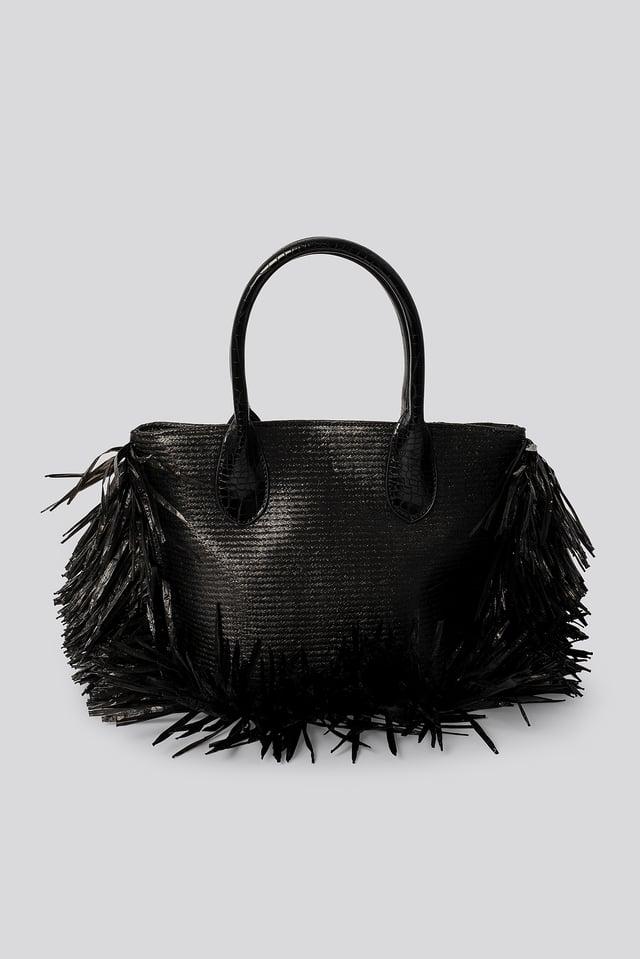 Fringe Beach Bag Black
