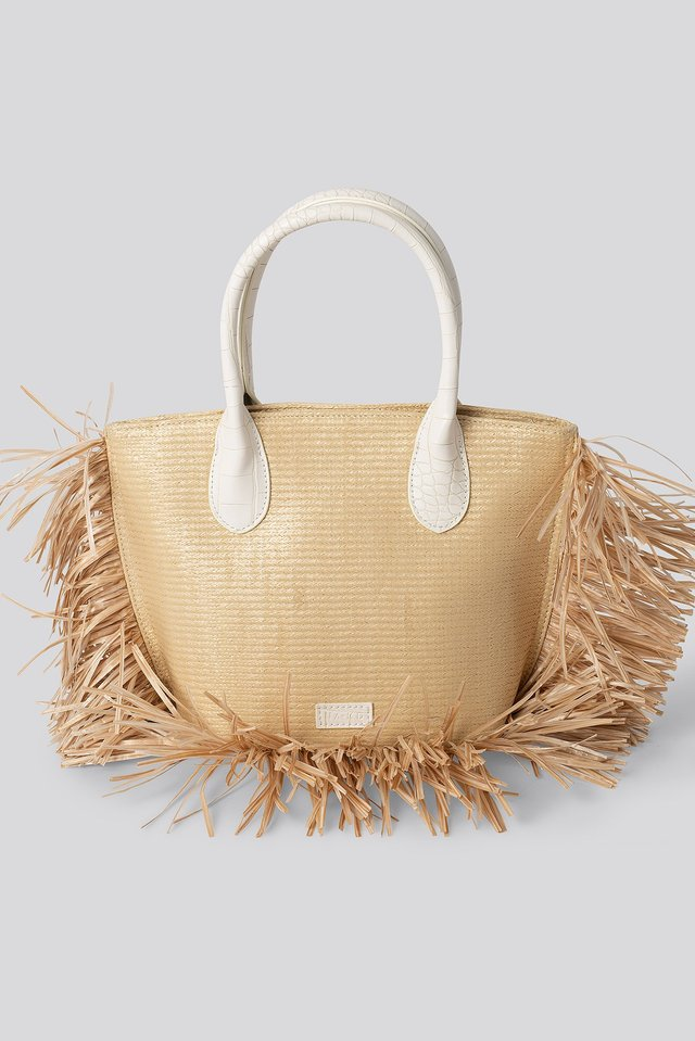 Fringe Beach Bag Beige
