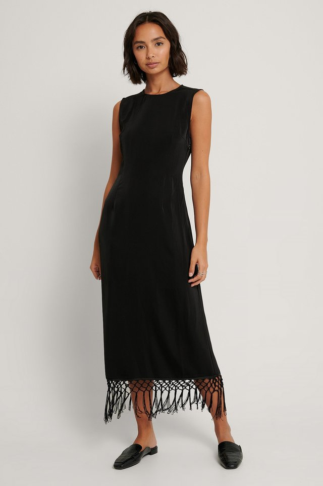 Fringe Detail Dress Black