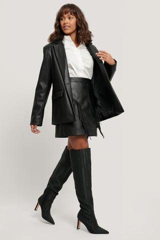 Black Fringe PU Mini Skirt