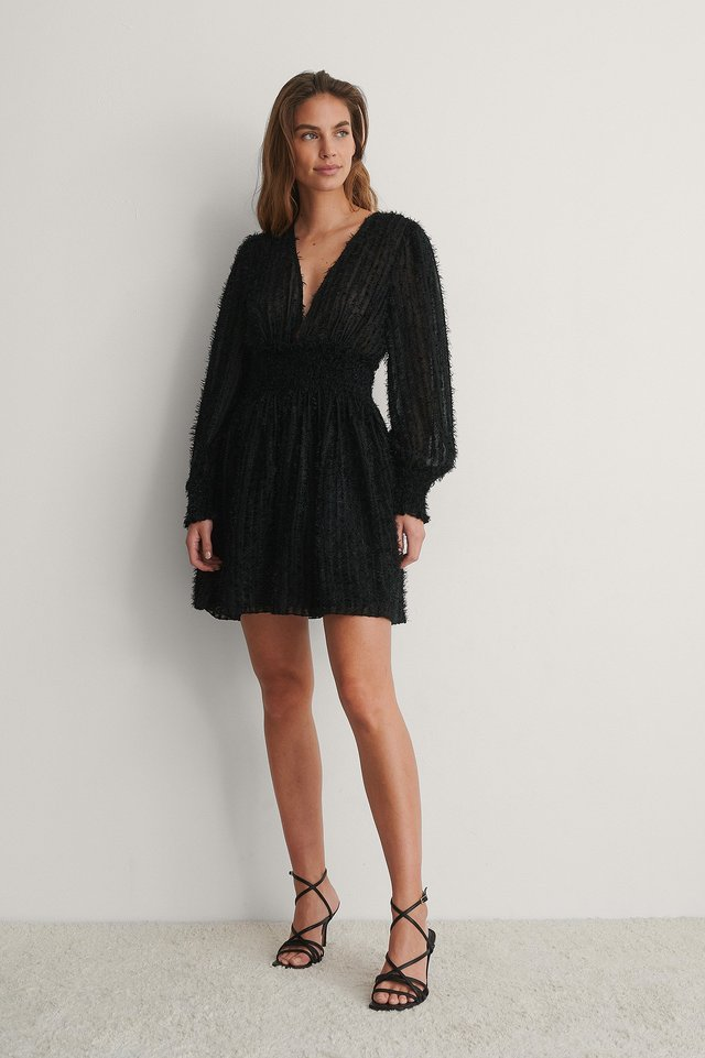 Black Fringe Smock Waist Dress