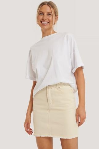 Ecru Fringed Denim Mini Skirt