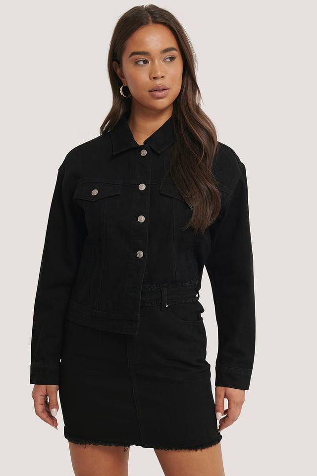 Black Fringed Denim Mini Skirt