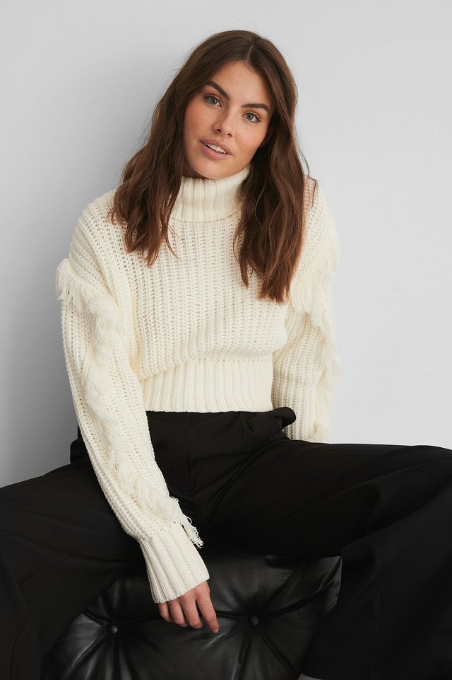 White Fringed Detail High Neck Knitted Sweater