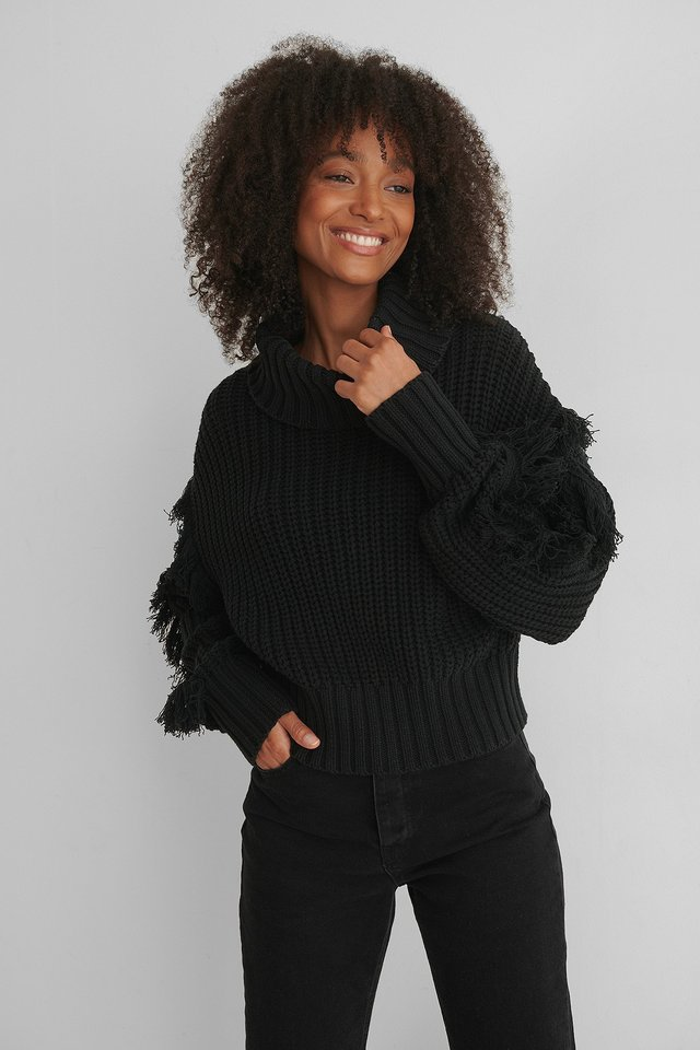 Black Fringed Detail High Neck Knitted Sweater