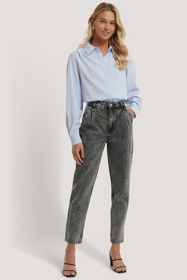 Front Dart Mom Jeans Black