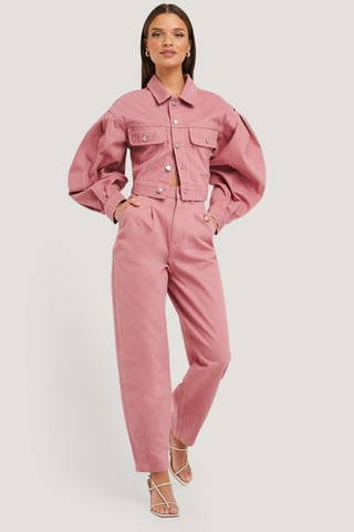 Dusty Rose Front Dart Slouchy Jeans