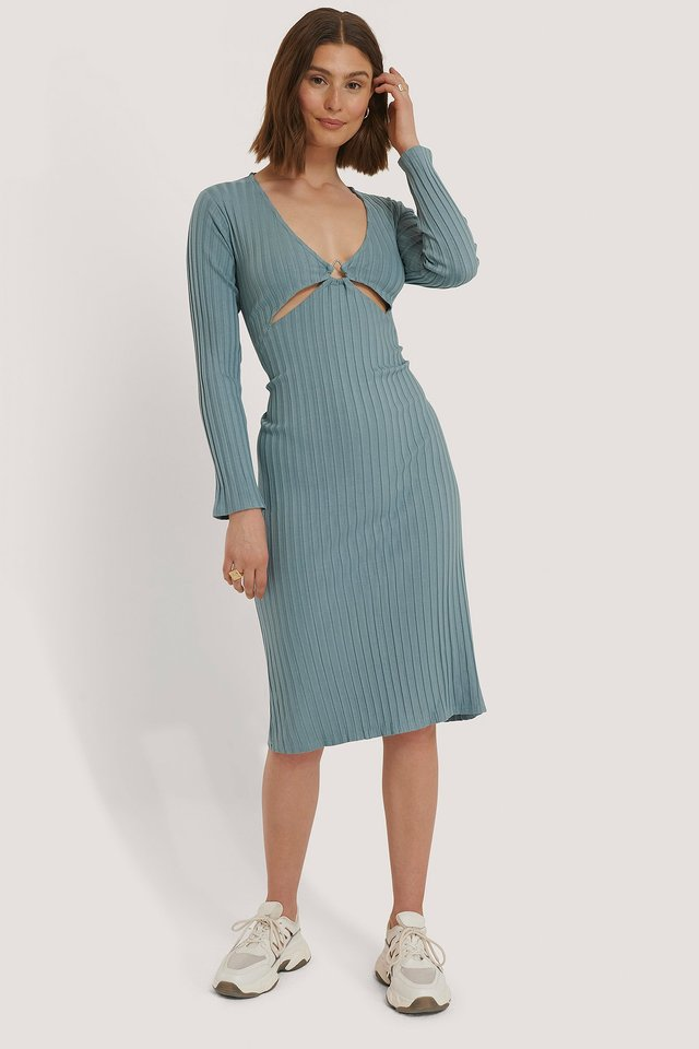 Front Detail Midi Dress Stone Blue