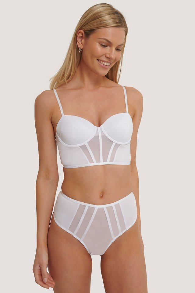 White Front Mesh Detail Highwaist Panty