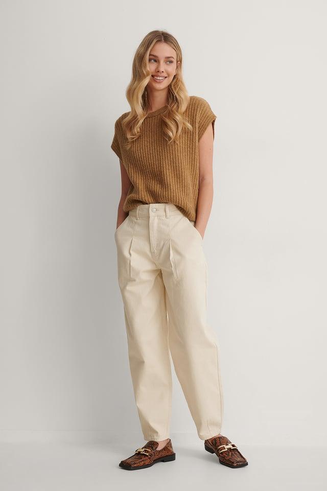 Cream Front Pleat Balloon Leg Jeans