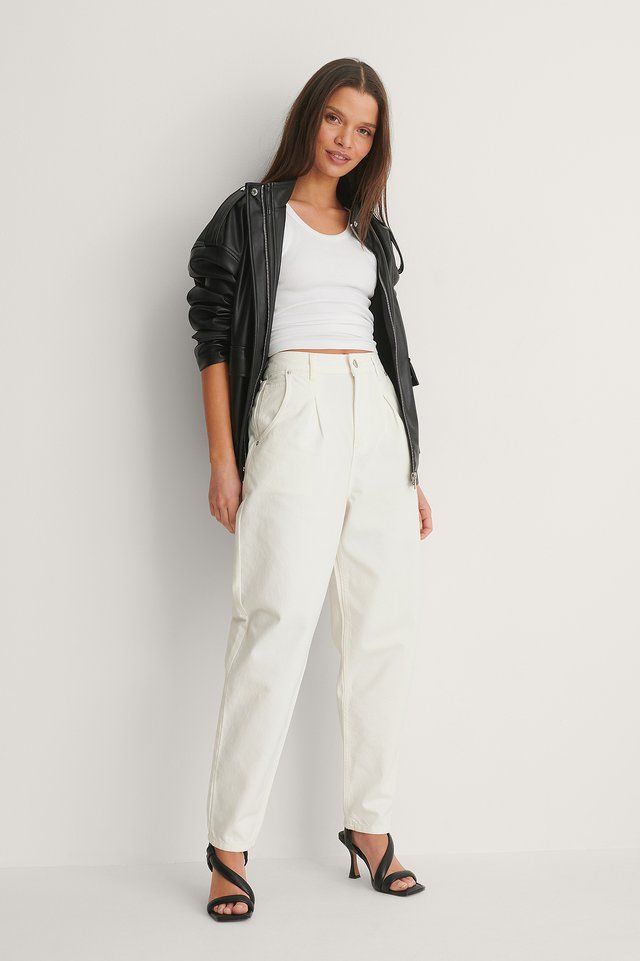 White Front Pleat Cocoon Jeans
