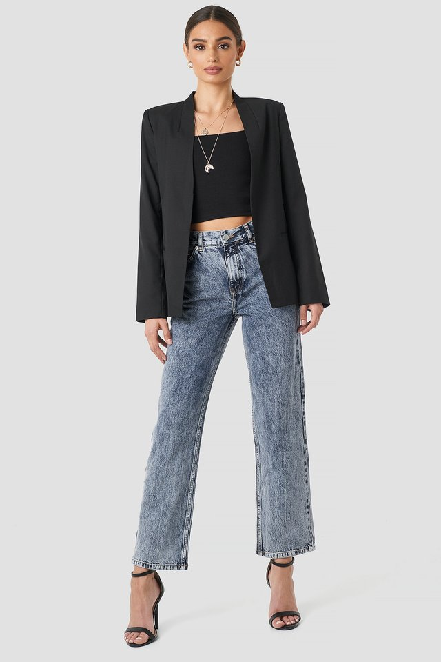 Front Pleat Jeans Blue Stone Wash