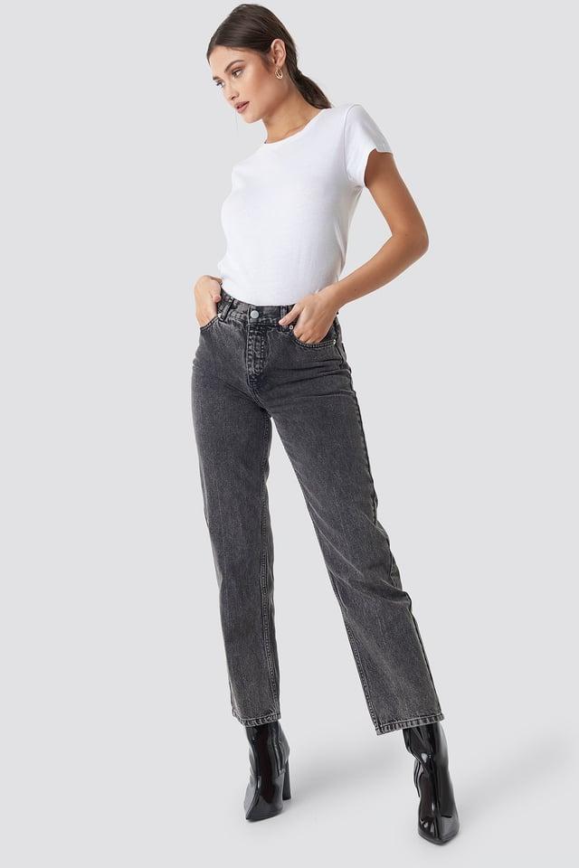 Front Pleat Jeans Black Stone Wash
