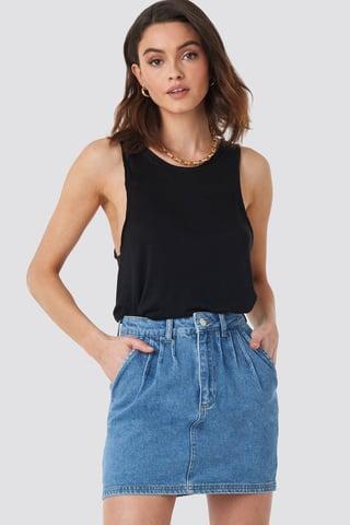 Mid Blue Front Pleat Short Denim Skirt