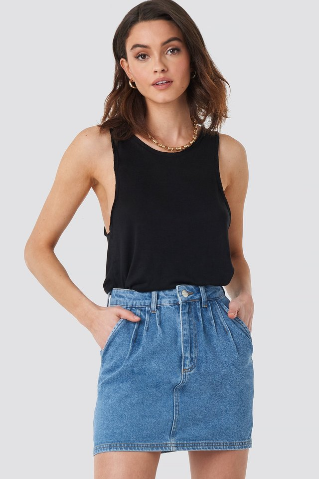 Mid Blue Front Pleat Short Denim Skirt