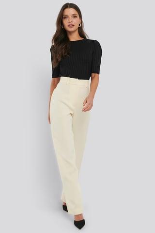 Cream Front Pleat Suit Pants