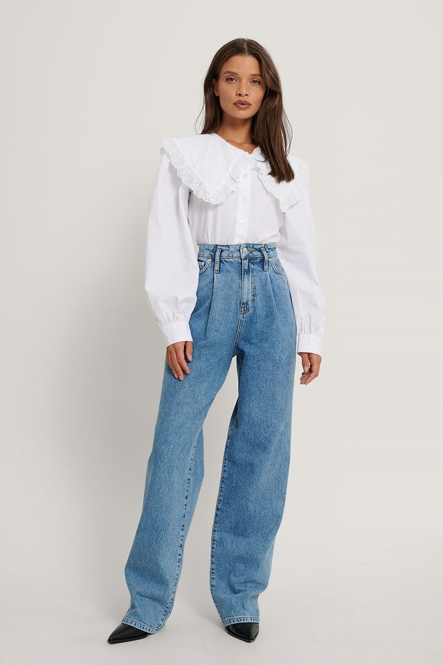 Mid Blue Organic Front Pleat Wide Leg Denim
