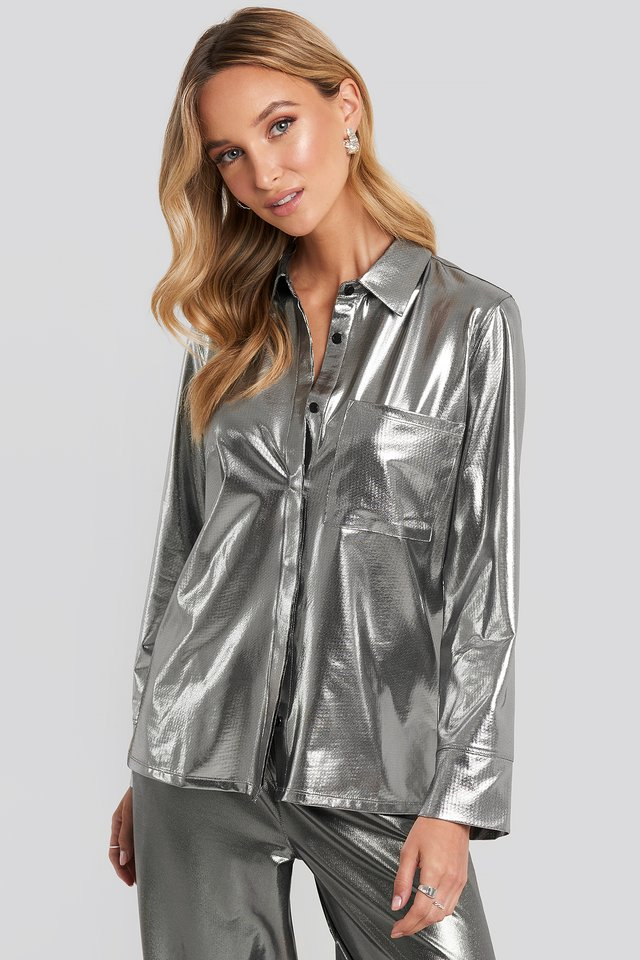 Silver Front Pocket Button Up Shirt