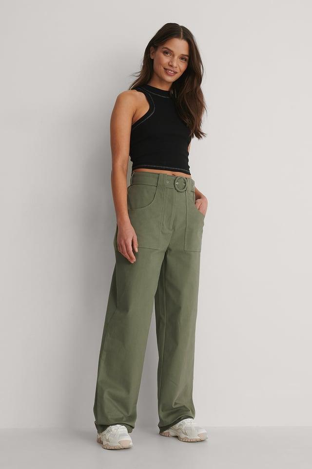 Dark Green Front Pocket Detail Suit Pants