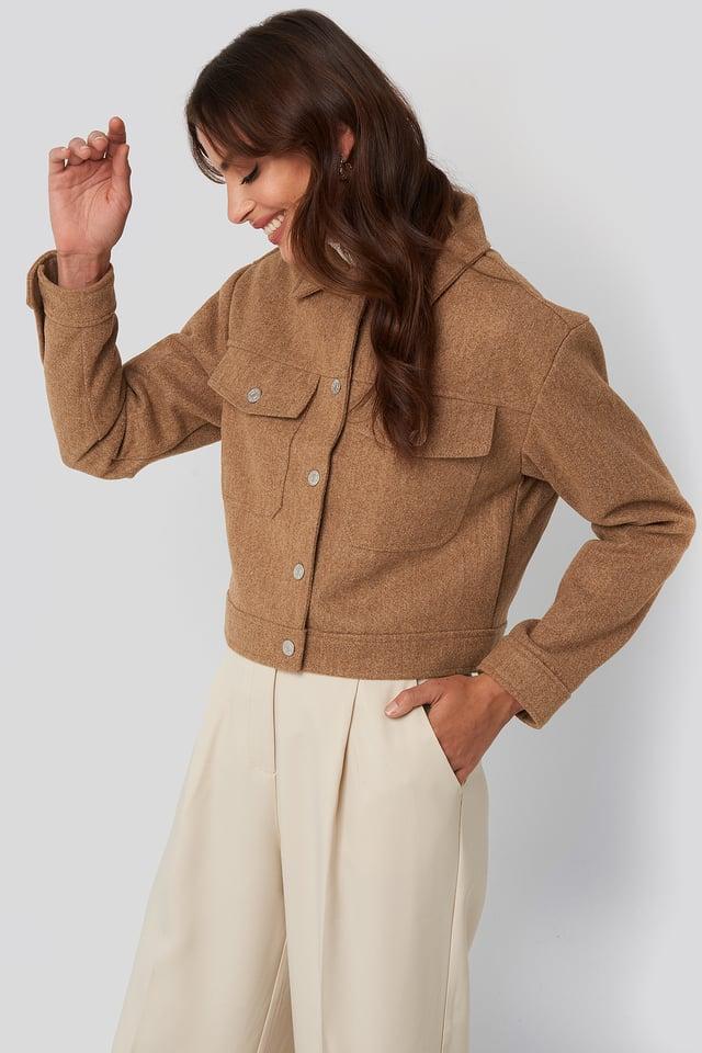 Front Pocket Jacket Beige