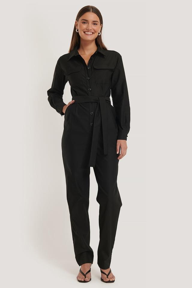 Front Pocket Jumpsuit Black