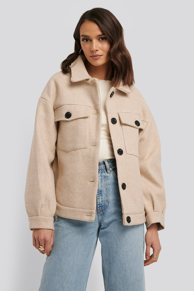 Front Pocket Oversized Jacket Beige