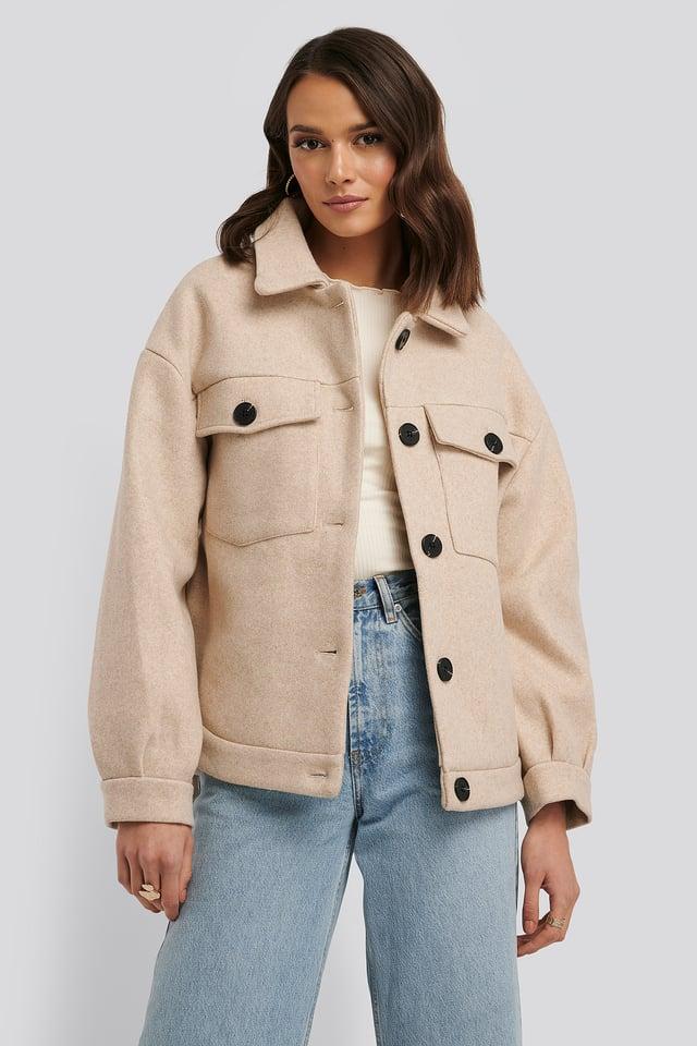 Front Pocket Oversized Jacket Beige