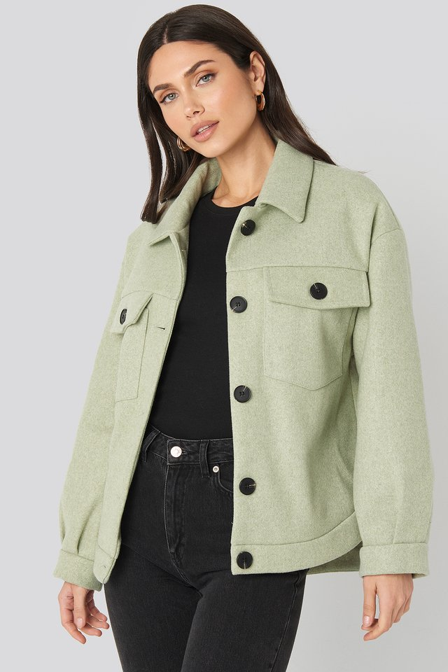 Green Front Pocket Oversized Jacket