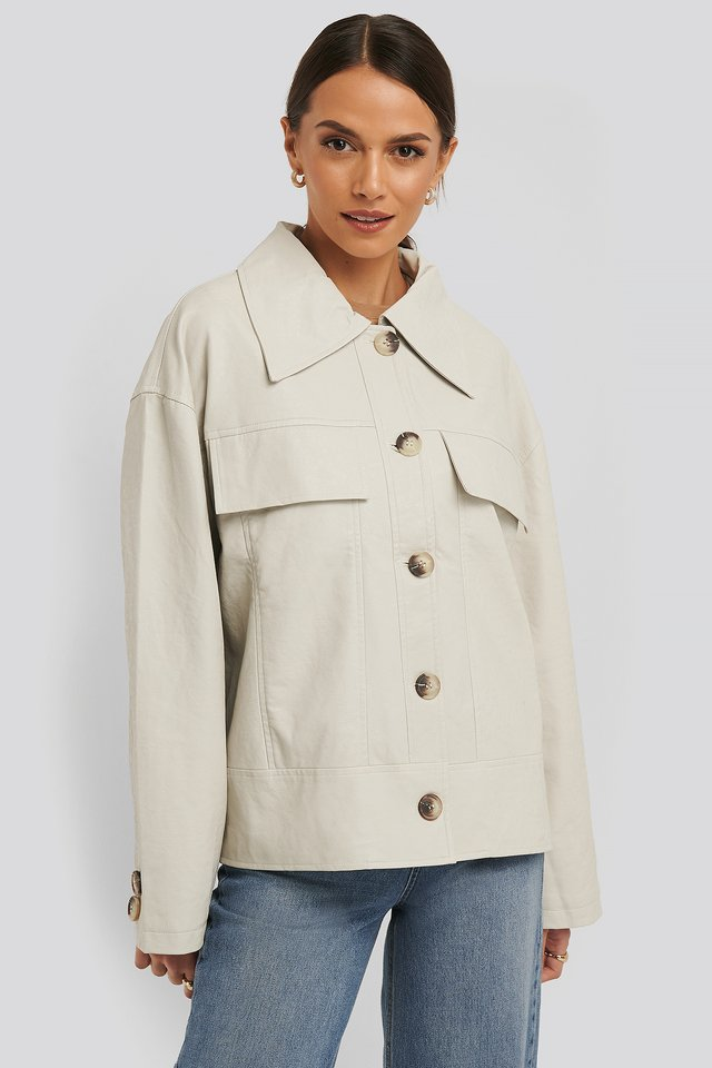 Front Pocket Pu Jacket Offwhite