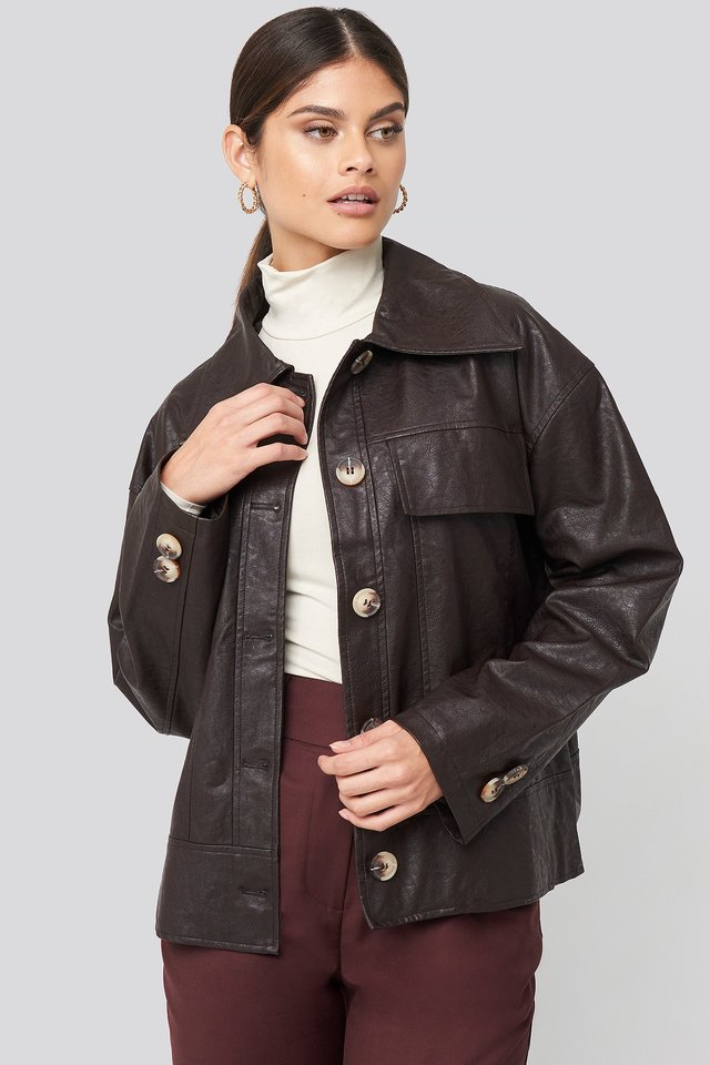 Front Pocket Pu Jacket Dark Brown
