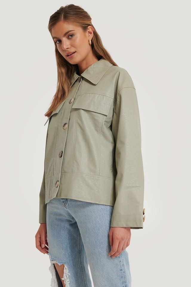 Front Pocket Pu Jacket NA-KD Trend