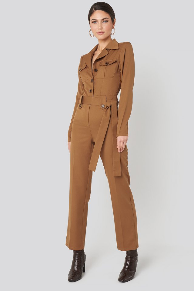 Brown Front Pocket Tied Waist Jumpsuit