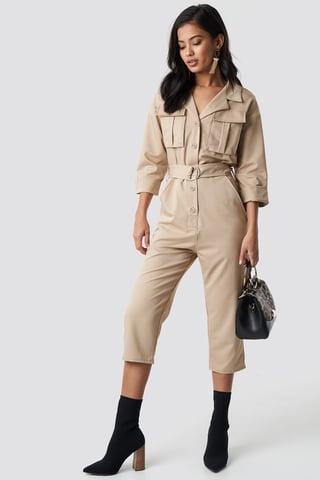 Beige Front Pockets Belted Jumpsuit