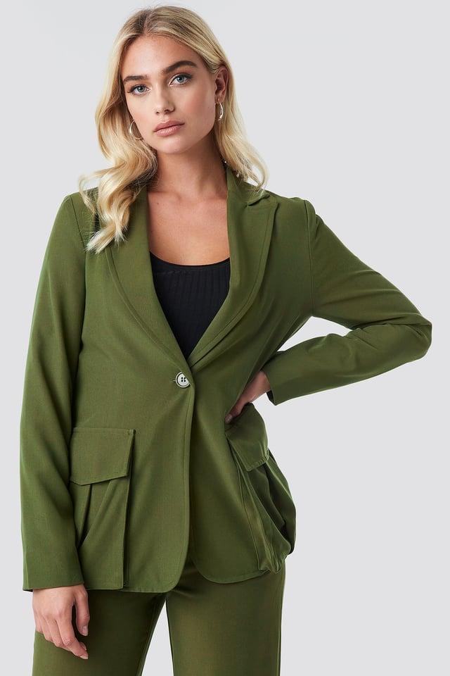 Khaki Green Front Pockets Single Button Blazer