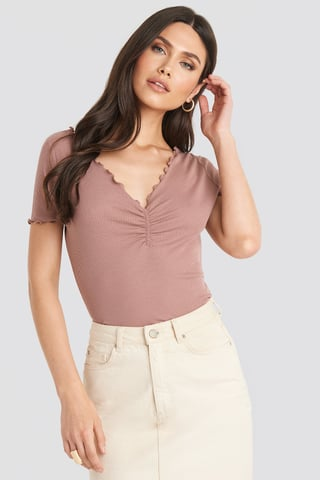 Dusty Dark Pink Front Ruched Babylock Top