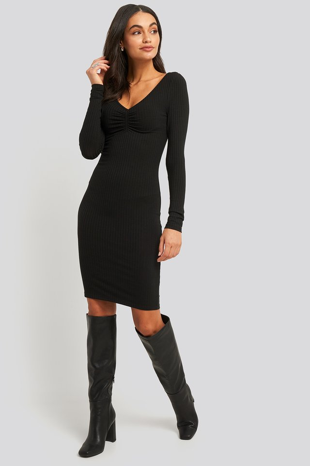 Front Ruched Ribbed Dress Black