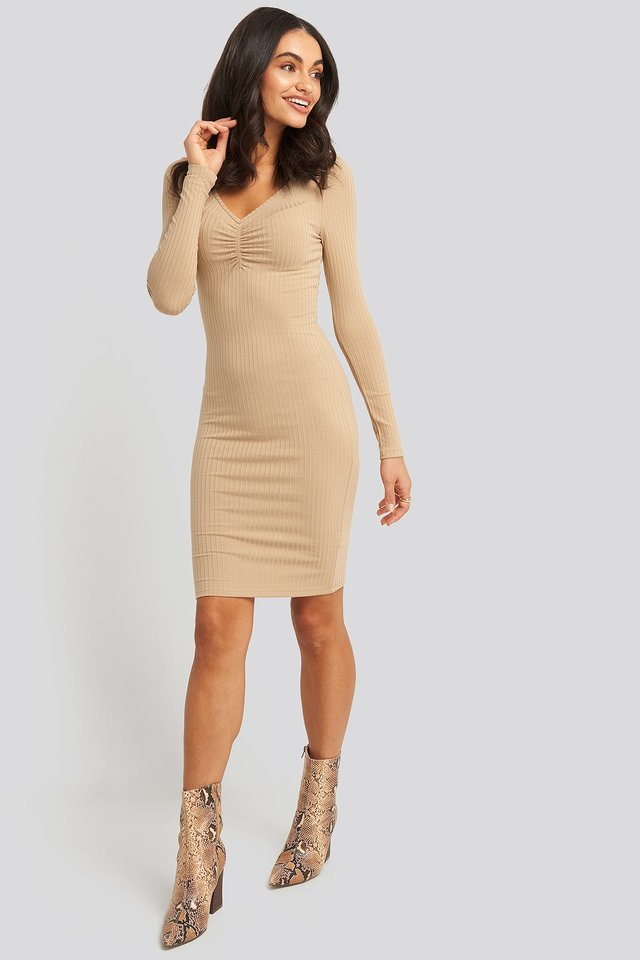 Front Ruched Ribbed Dress Beige