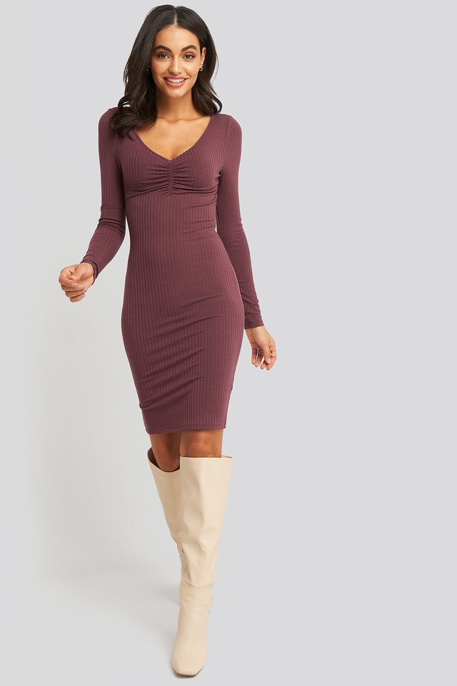 Front Ruched Ribbed Dress Burgundy