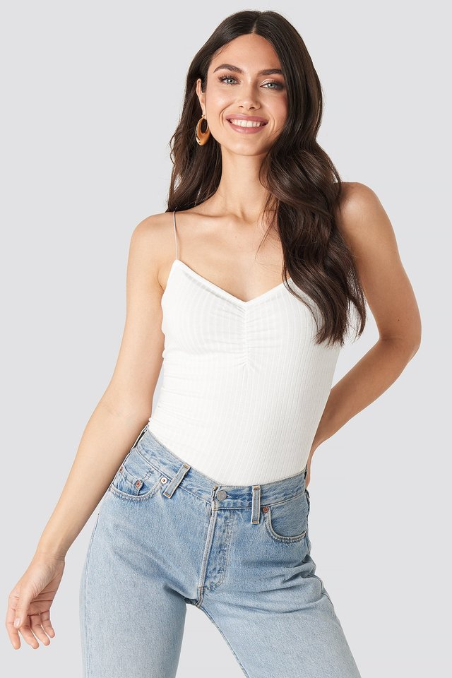 Front Ruched Ribbed Singlet Offwhite