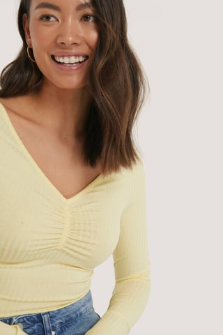 Yellow Front Ruched Ribbed Top